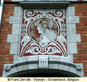 Art Nouveau woman in Schaerbeck